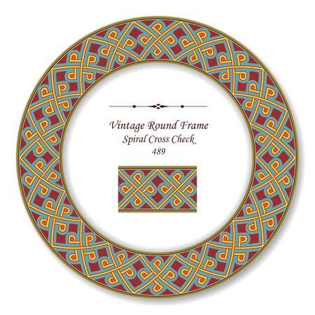 vintage retro frame: Vintage Round Retro Frame Spiral Cross Check Illustration