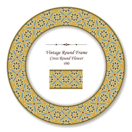 vintage retro frame: Vintage Round Retro Frame Cross Round Flower