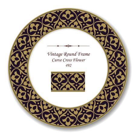 vintage retro frame: Vintage Round Retro Frame Curve Cross Flower Illustration