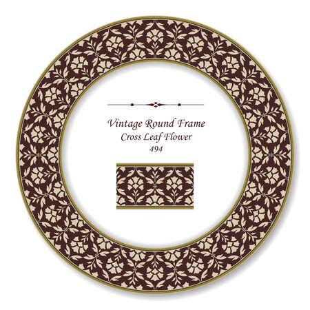 vintage retro frame: Vintage Round Retro Frame  Cross Leaf Flower