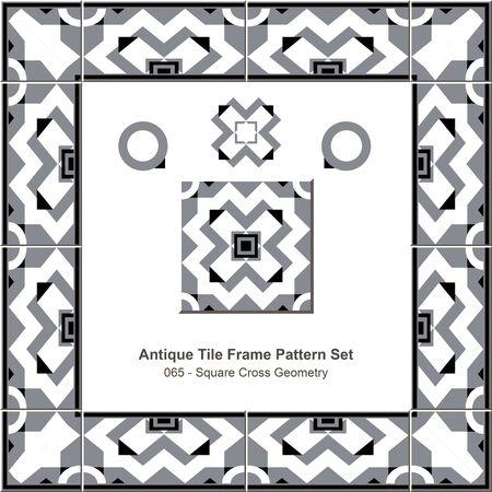 tile pattern: Antique tile frame pattern set_065 Square Cross Geometry Illustration