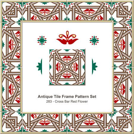 cross bar: Antique tile frame pattern set_283 Cross Bar Red Flower