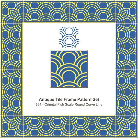 fish scale: Antique tile frame pattern set_324 Oriental Fish Scale Round Curve Line