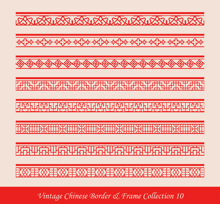 lattice window: Vintage Chinese Border Frame Vector Collection