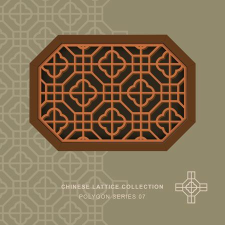 Chinese window tracery lattice polygon frame 07 cross square 일러스트