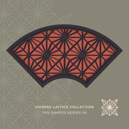 lattice window: Chinese window tracery lattice fan shaped frame 09 diamond flower