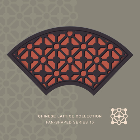 fan shaped: Chinese window tracery lattice fan shaped frame 10 diamond circle Illustration