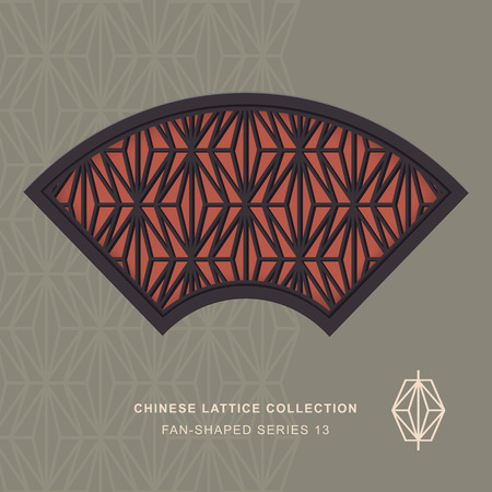 rhomb: Chinese window tracery fan shaped frame 13 rhomb Illustration