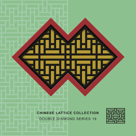 lattice window: Chinese window tracery double diamond frame 19 rectangle flower