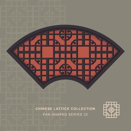 fan shaped: Chinese window tracery fan shaped frame 32 round corner Illustration