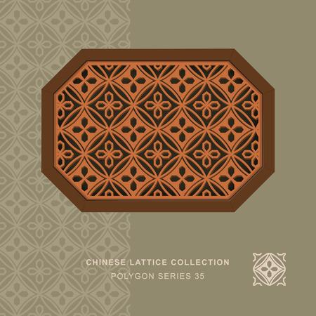 lattice window: Chinese window tracery polygon frame 35 round flower