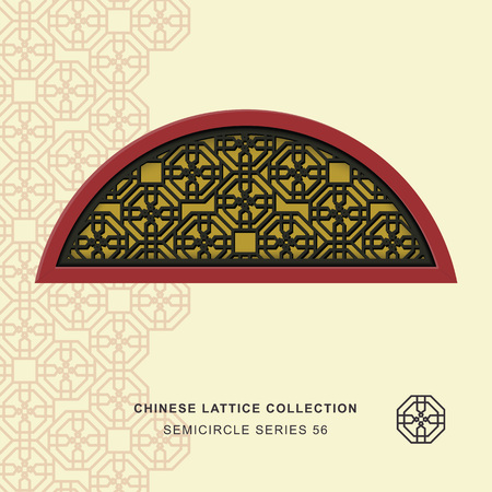 semicircle: Chinese window tracery semicircle frame 56 cross polygon