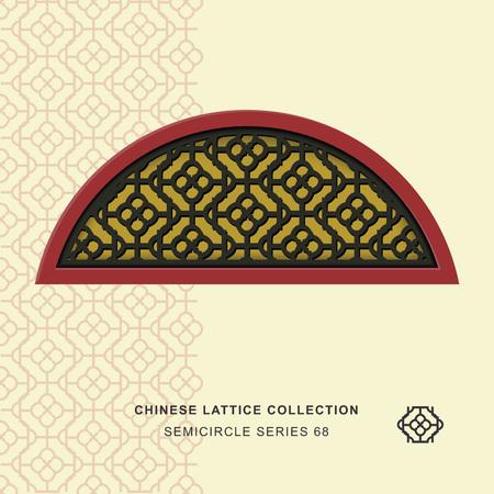 lattice window: Chinese window tracery semicircle frame 68 round side