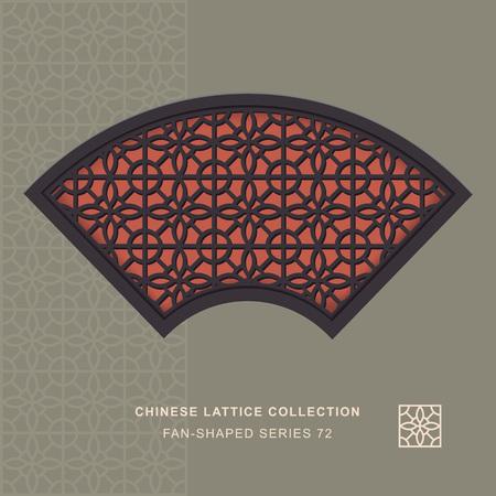 fan shaped: Chinese window tracery fan shaped frame 72 circle flower Illustration