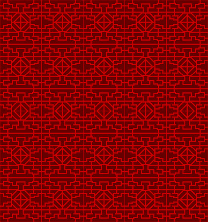 Seamless Chinese window tracery lattice diamond geometry line.