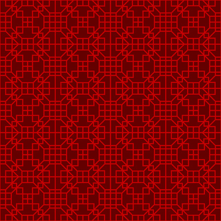 Seamless Chinese window tracery lattice square geometry line.