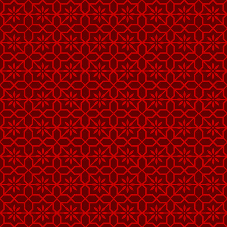 octagonal: Seamless vintage Chinese window tracery octagonal star flower pattern background. Vectores