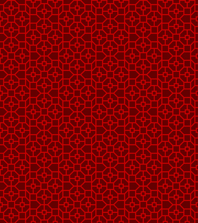 Seamless Chinese window tracery polygon square pattern background.