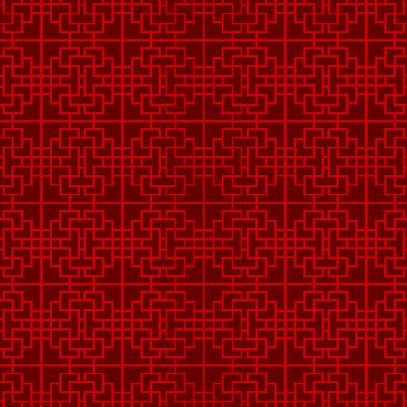 Seamless Chinese window tracery lattice square line pattern. Illustration