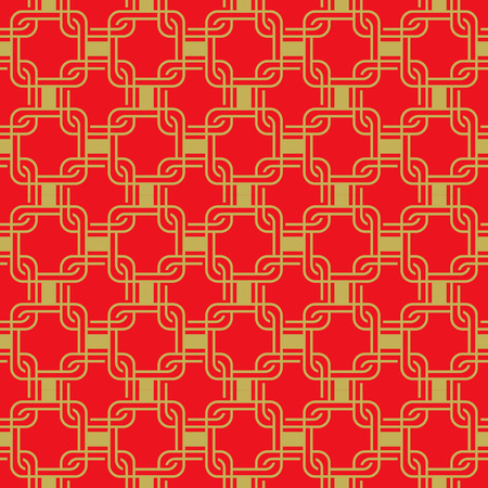 crisscross: Seamless golden red Chinese style arranged in a crisscross square pattern.