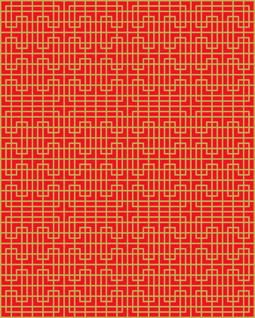 Golden seamless Chinese window tracery lattice geometry line pattern background.