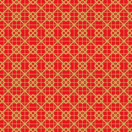 黄金シームレスなヴィンテージ中国ウィンドウ網目模様の正方形は、線のパターンの背景を確認します。