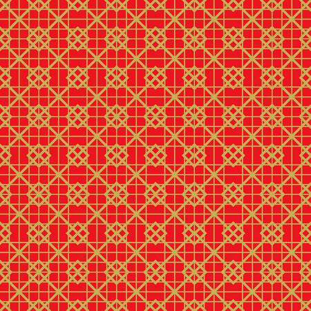 Golden seamless vintage Chinese window tracery square check line pattern background.