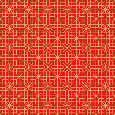 Golden seamless Chinese window tracery lattice geometry flower pattern background.