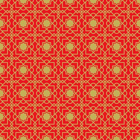 Golden seamless Chinese window tracery lattice geometry star diamond pattern background.