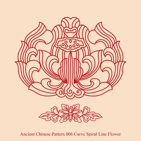 curve line: Ancient Chinese Pattern of Curve Spiral Line Flower