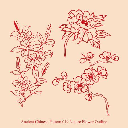 Antico cinese Pattern di Nature Fiore Outline Archivio Fotografico - 67400820
