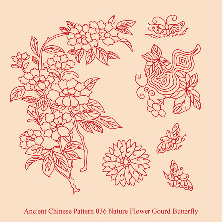 Ancient Chinese Pattern of Nature Flower Gourd Butterfly 일러스트