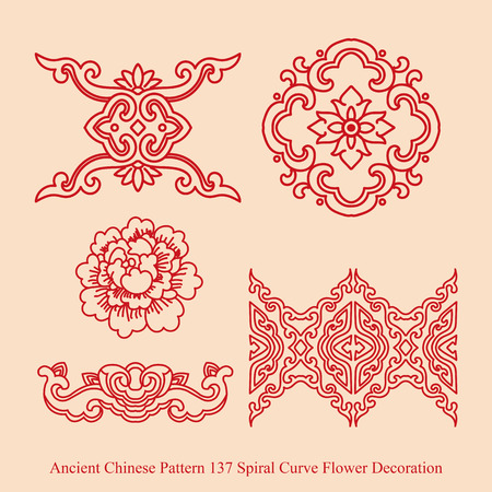 flower decoration: Ancient Chinese Pattern of Spiral Curve Flower Decoration