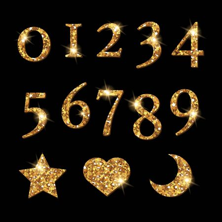 shinning: Shinning Golden Numbers and moon star heart pattern Illustration