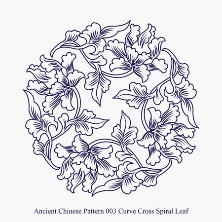 곡선의 고대 중국어 패턴 크로스 나선형 잎 일러스트