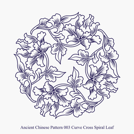 Ancient Chinese Pattern of Curve Cross Spiral Leaf