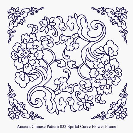 나선형 곡선 꽃 프레임의 고대 중국 패턴