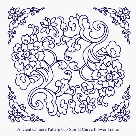 Ancient Chinese Pattern of Spiral Curve Flower Frame