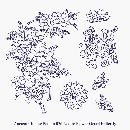 Ancient Chinese Pattern of Nature Flower Gourd Butterfly Illustration