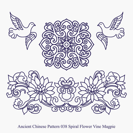 Ancient Chinese Pattern of Spiral Flower Vine Magpie Çizim