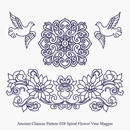 Modello antico cinese di spirale della vite del fiore Magpie Archivio Fotografico - 68829311