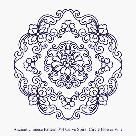 커브 나선형 서클 꽃 포도 나무의 고대 중국어 패턴