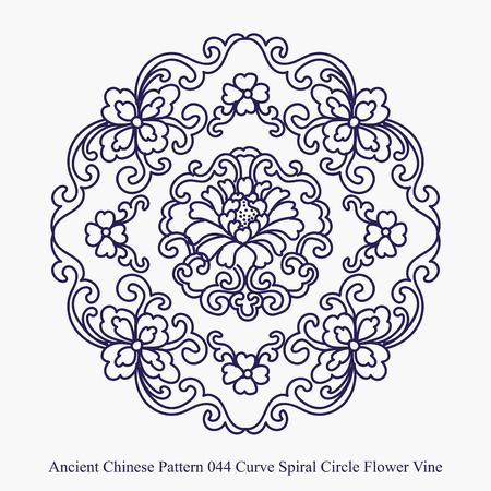 Ancient Chinese Pattern of Curve Spiral Circle Flower Vine Stock Vector - 68829315