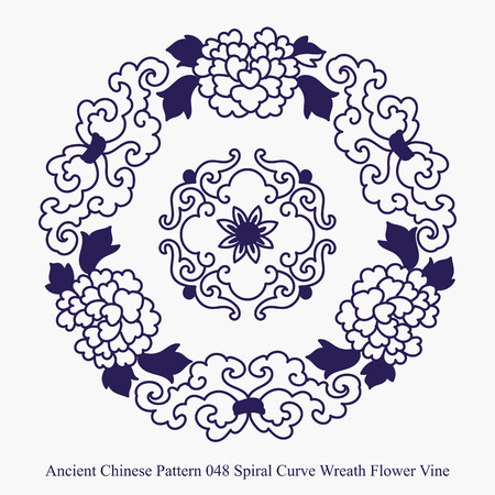 Ancient Chinese Pattern of Spiral Curve Wreath Flower Vine