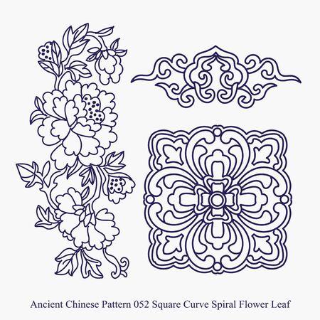 사각형 곡선 나선형 꽃 잎의 고대 중국어 패턴