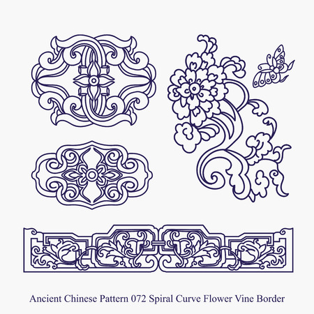 Ancient Chinese Pattern of Spiral Curve Flower Vine Border