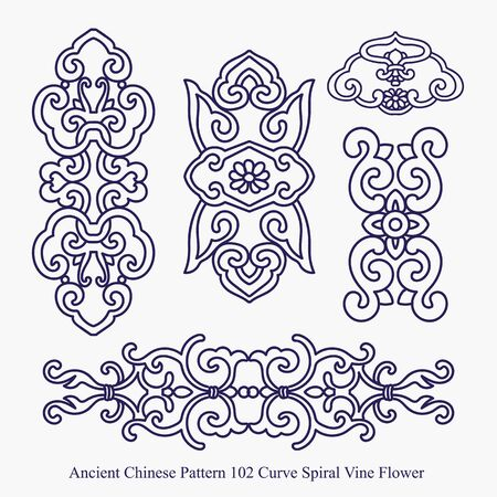 Ancient Chinese Pattern of Curve Spiral Vine Flower Illustration