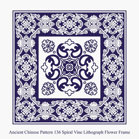 lithograph: Ancient Chinese Pattern of Spiral Vine Lithograph Flower Frame Illustration