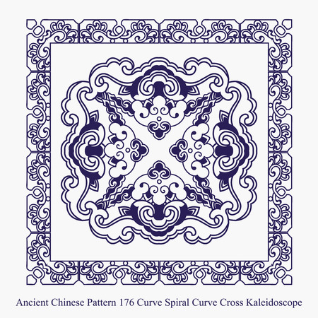 curve: Ancient Chinese Pattern of Curve Spiral Curve Cross Kaleidoscope