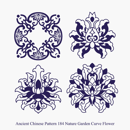 Ancient Chinese Pattern of Nature Garden Curve Flower